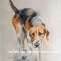 """Dwell alone"" watercolour hound"