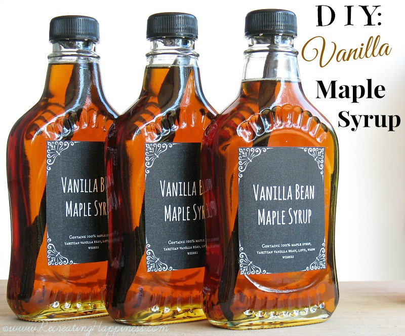 Vanilla Bean Maple Syrup | Homemade | Gift | Recipe | http://recreatinghappiness.com