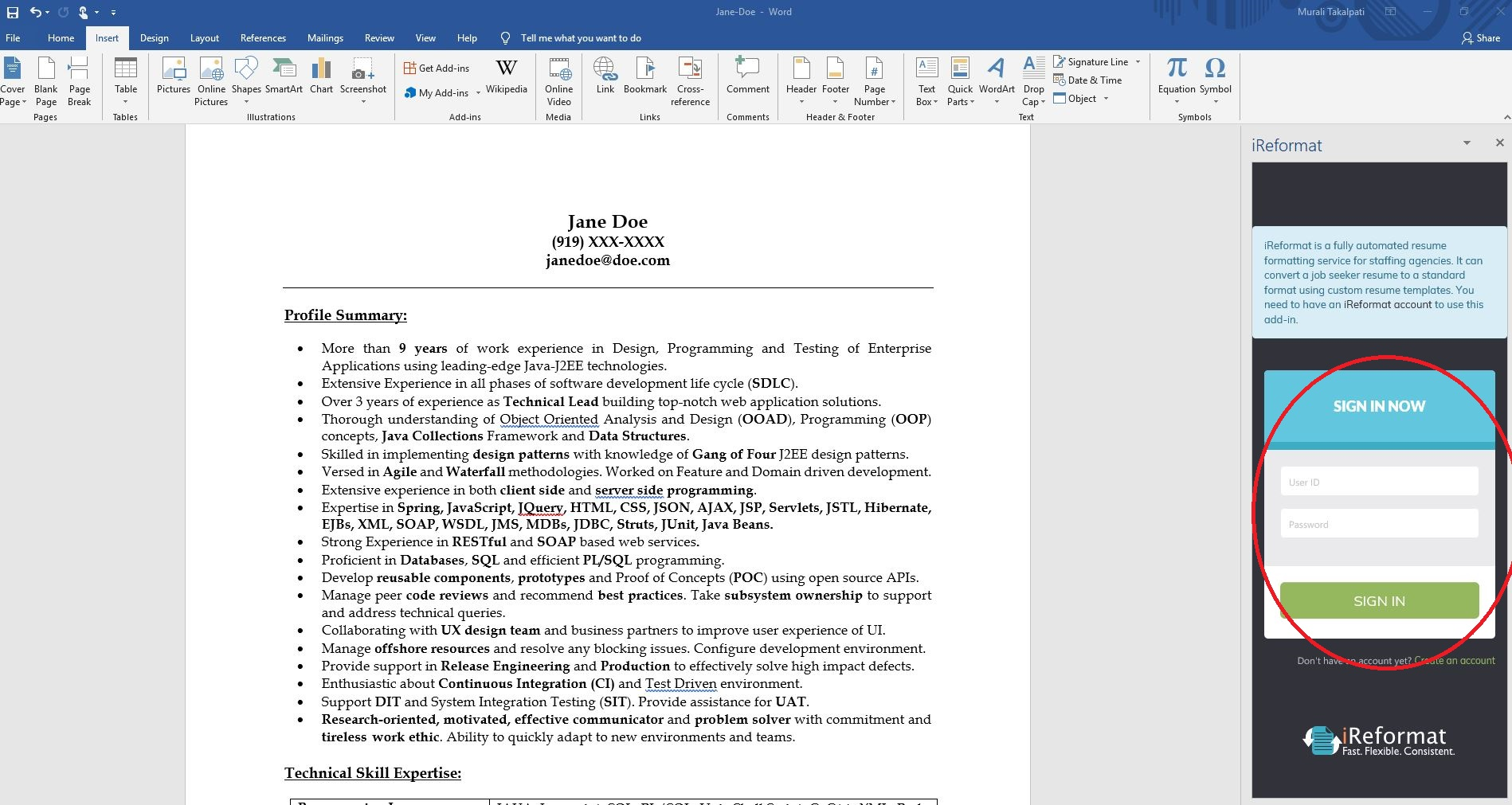 Formatting A Resume In Word Automated Resume Formatting Service Using Microsoft Word 2013