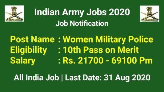 Indian Army GD Women Recruitment 2020