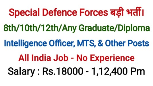 Special Defence Forces Recruitment 2020