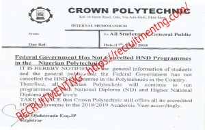 Application/sales of OND/HND Programmes For 2018/19 in Crown Polytechnic
