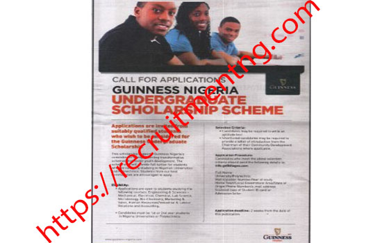 Guinness Nigeria Scholarship For Nigerians 2019