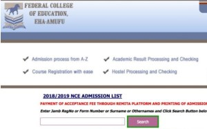 2018/2019 Federal College of Education, NCE 1st & 2nd Batch