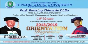 (RSUST) Orientation Programme for Newly Admitted Students2018/2019