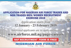 Nigerian Air Force Recruitment Exercise Application Form 2019