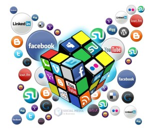 Social media campaign - Rubix cube with various social media icons on its faces