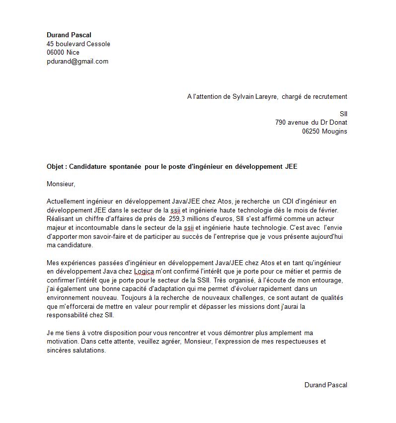 meilleur lettre de motivation pour une candidature spontanee modele de lettre
