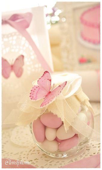 Recuerdos de Bautizo niña frasco dulcero rosa mariposa elegante
