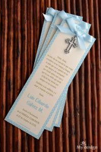 Recuerdos de Bautizo para niño mensaje decorativo papel especial azul cruz plateada