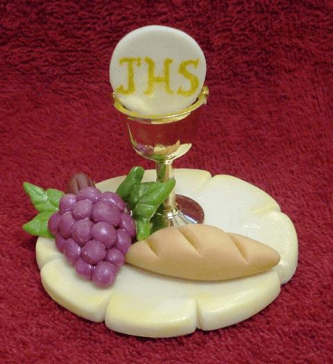 Recuerdos Comunión porcelana migajon caliz uvas pan
