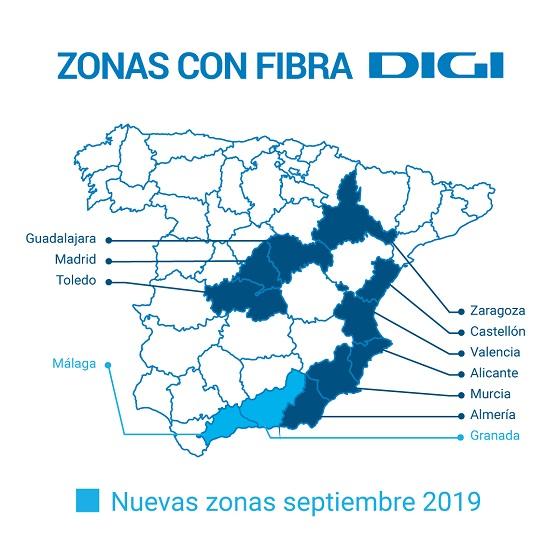 Zonas de España donde Digi ha llevado su servicio de fibra en septiembre.