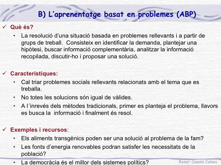Metodologia ABP Roser Canals