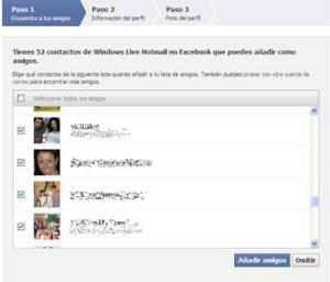 Pantalla con los usuarios de hotmail, para enlazarlos en facebook