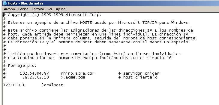 fichero host