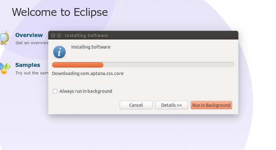 Instalacion de Aptana en Eclipse. Progreso de la descarga