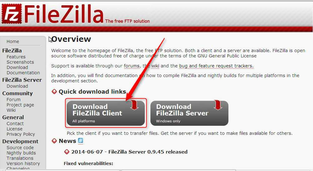 Filezilla, pantalla de descarga