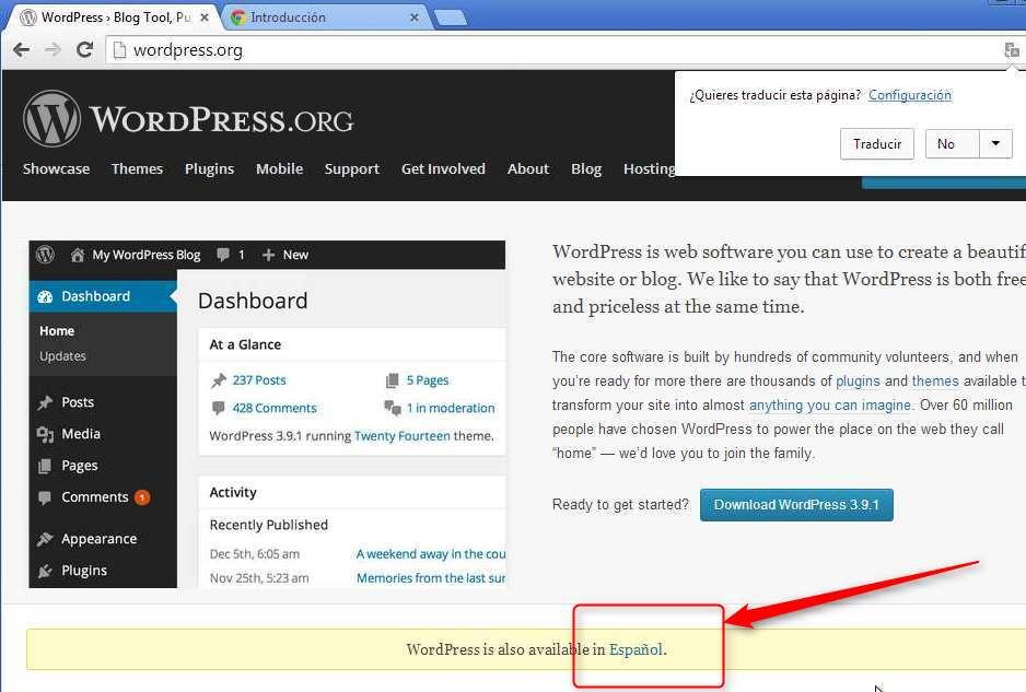 Descargando WordPress