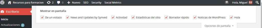 Wordpress. Panel de Opciones de Pantalla