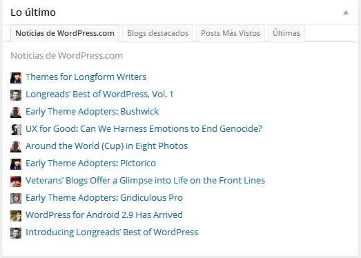 Escritorio de wordpress- noticias