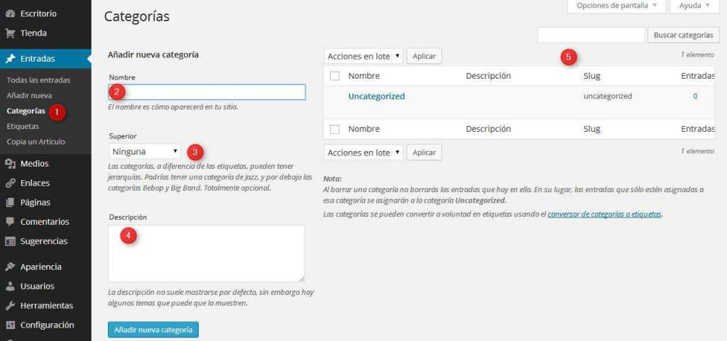 WordPress - Gestion de categorias