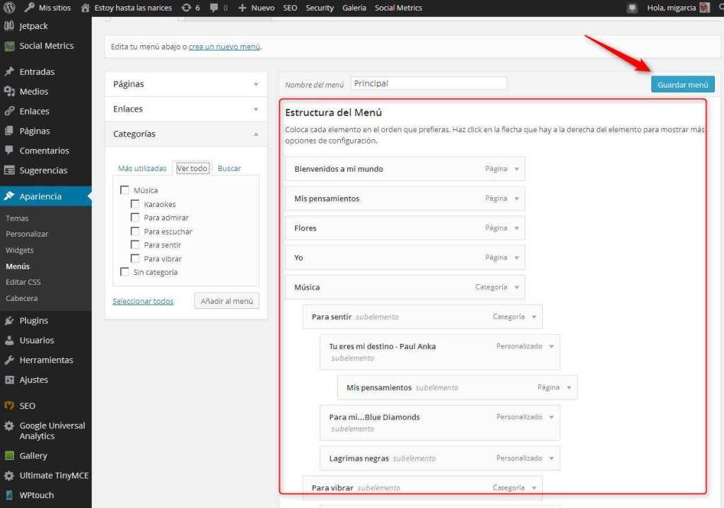 wordpress estructura del menu