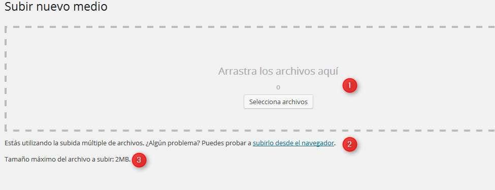 Wordpress-pantalla subir medios