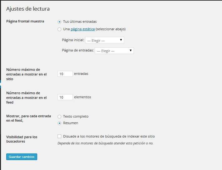 Wordpress pantalla de ajustes para lectura