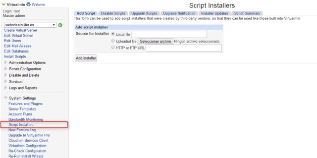 Virtualmin Script Installer