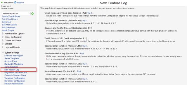 virtualmin Nuevas caracteristicas