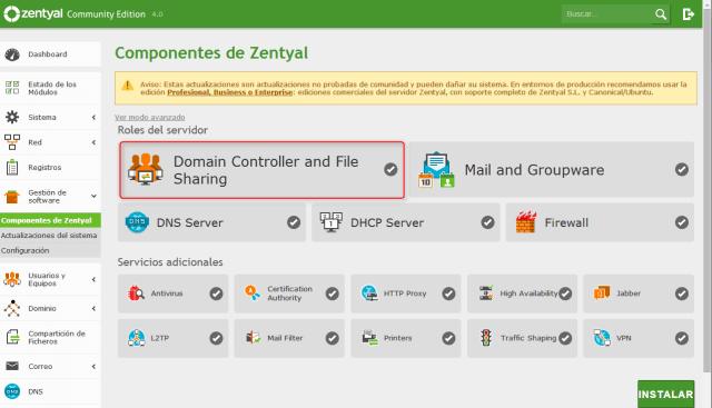 Zentyal-componentes instalados