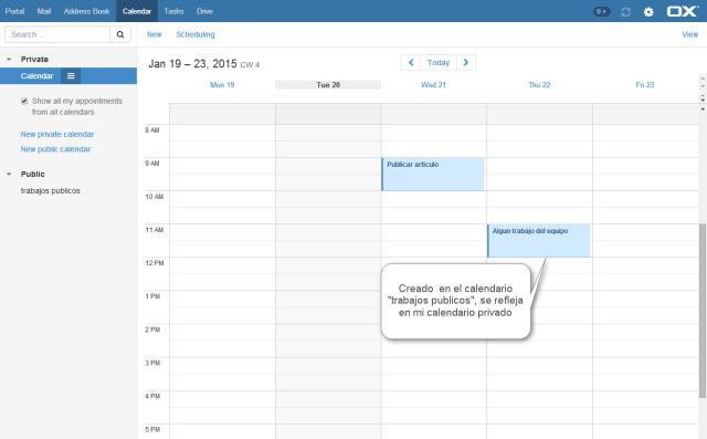 open xchange - calendarios