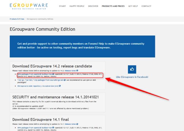 egroupware-seleccionando version