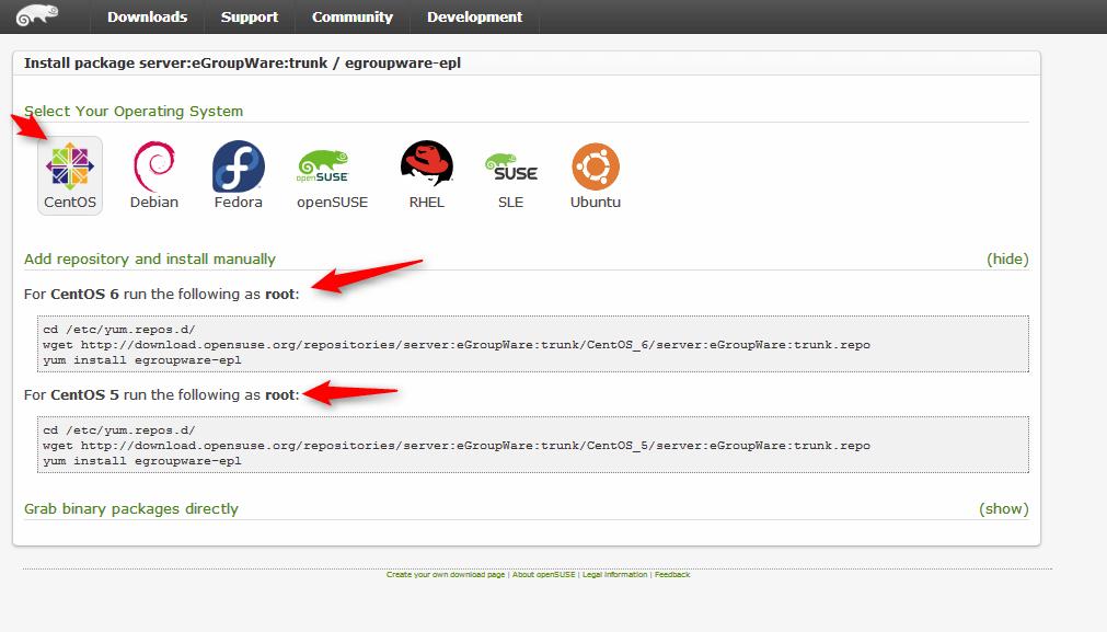 eGroupWare-seleccionando Centos