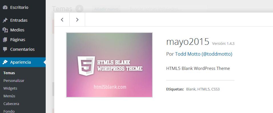 Wordpress. Viendo el tema
