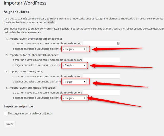 wordpress. Importar datos de prueba
