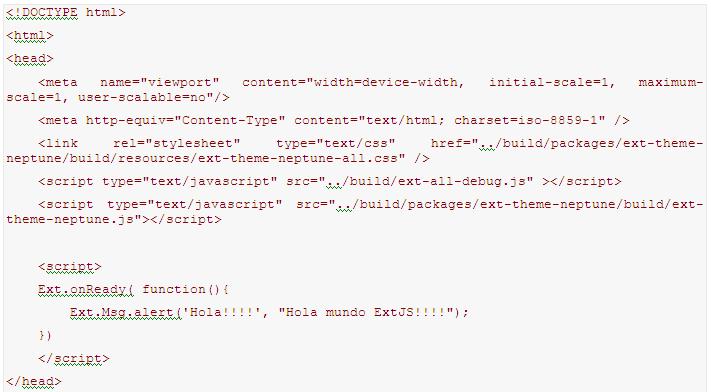 Index HolaMundo con ExtJS