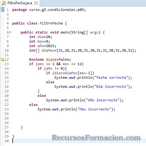 Ejercicios de Java, Filtro de fecha utilizando un array