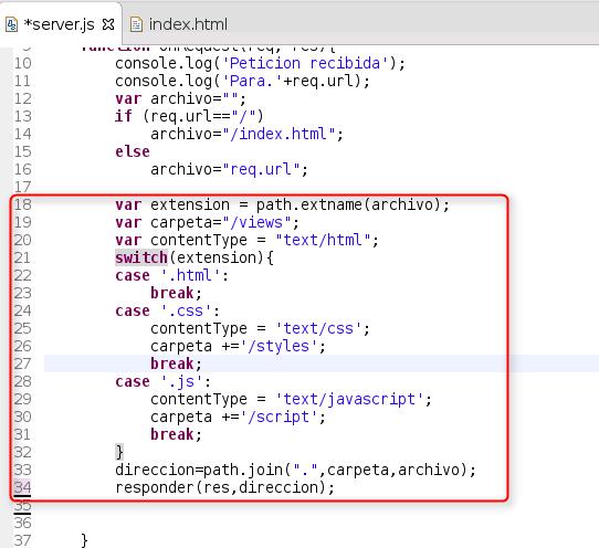 Node.js - Modificacion de server para ruteo