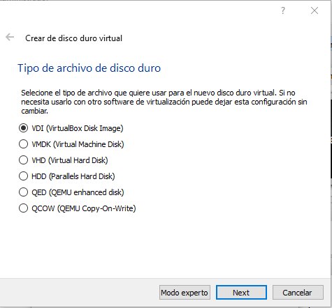 Tipo de disco virtual para instalar Android en un PC