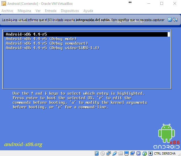 Iniciando Android en VirtualBox