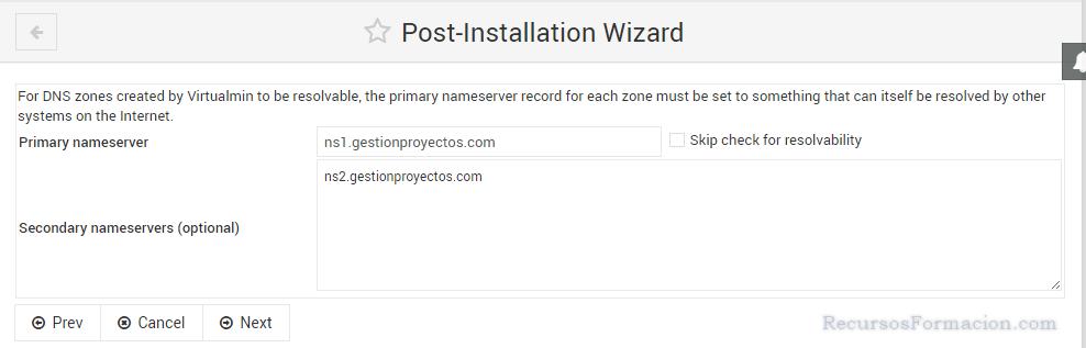 Post installation wizard-Virtualmin-DNS