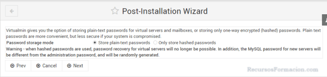 Post installation wizard-Virtualmin-Contraseñas