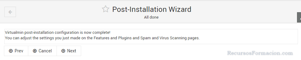 Post installation wizard-Virtualmin-fin de la configuracion
