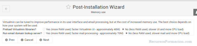 Post installation wizard-Virtualmin-memory