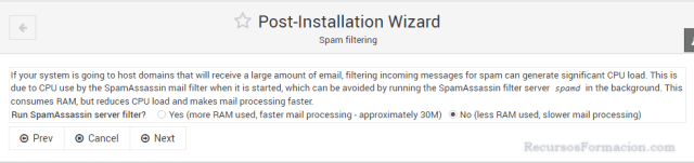 Post installation wizard-Virtualmin-Spamassasin