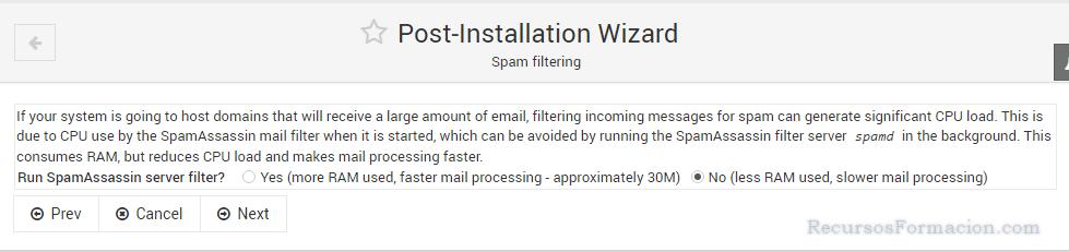 Post installation wizard-Virtualmin-Spamassasin