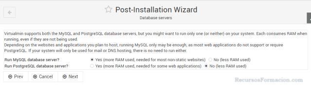 Post installation wizard-Virtualmin-MySQL/PostgreSQL