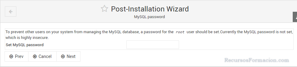 Post installation wizard-Virtualmin-Asegurando MySQL