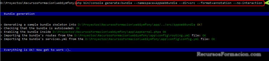 Symfony:generando una aplicacion/bundle